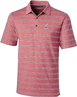 Cutter & Buck NCAA Cincinnati Bearcats Men's Short Sleeve Heather Stripe Forge Polo, Medium, Cardinal Red