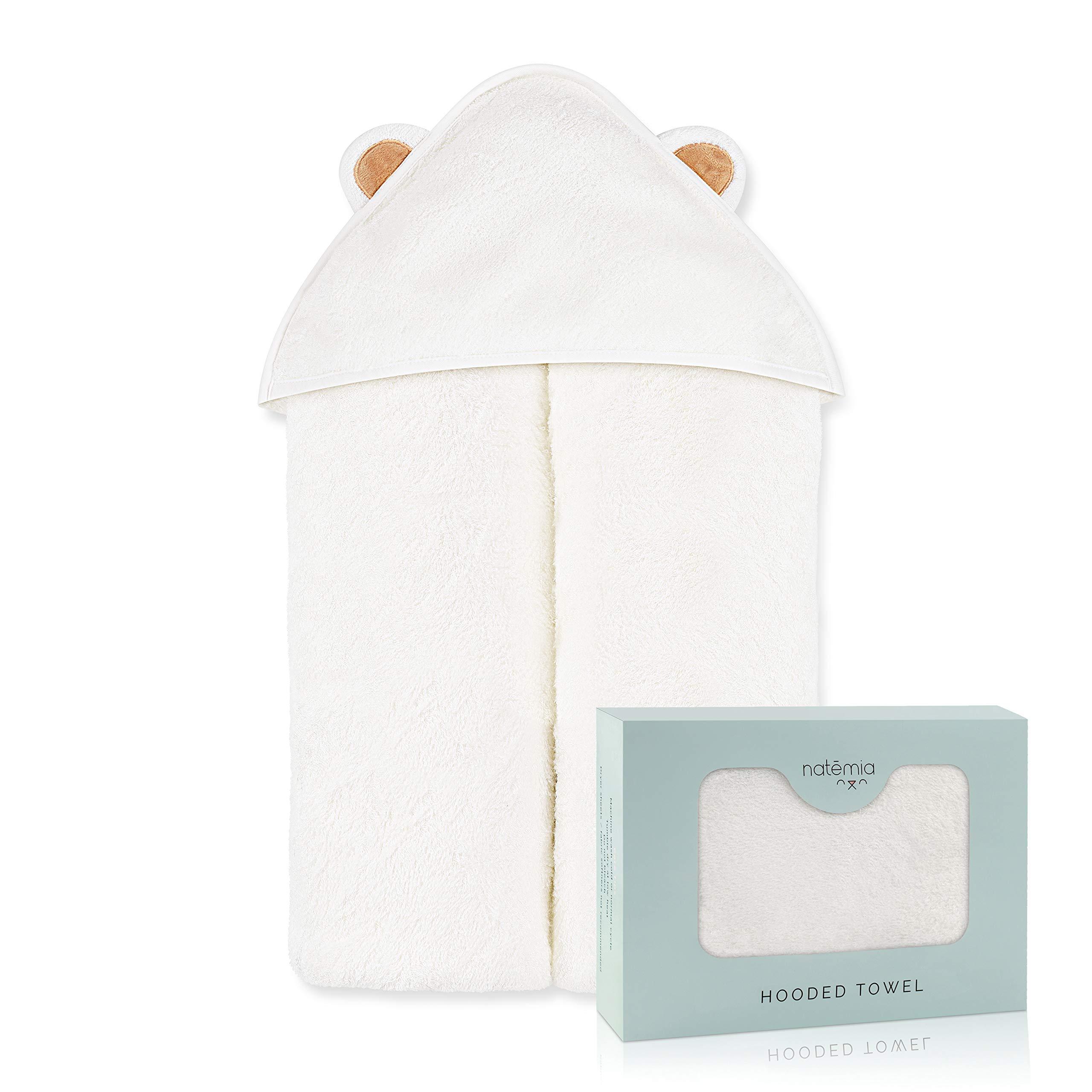natemia 超柔软婴儿竹连帽浴巾 保持婴儿干爽和温暖  尺寸适用于宝宝和幼儿