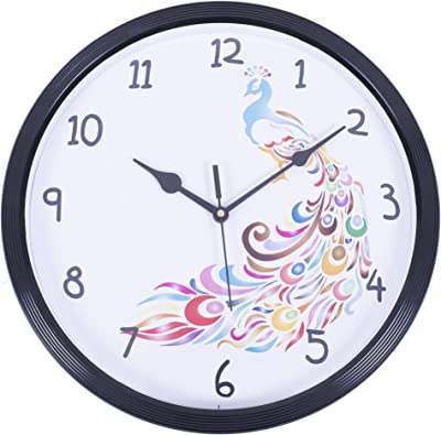 Smera Colorful Peacock Design Ethnic Analog 31.5 cm X 31.5 cm Wall Clock for Home and Office