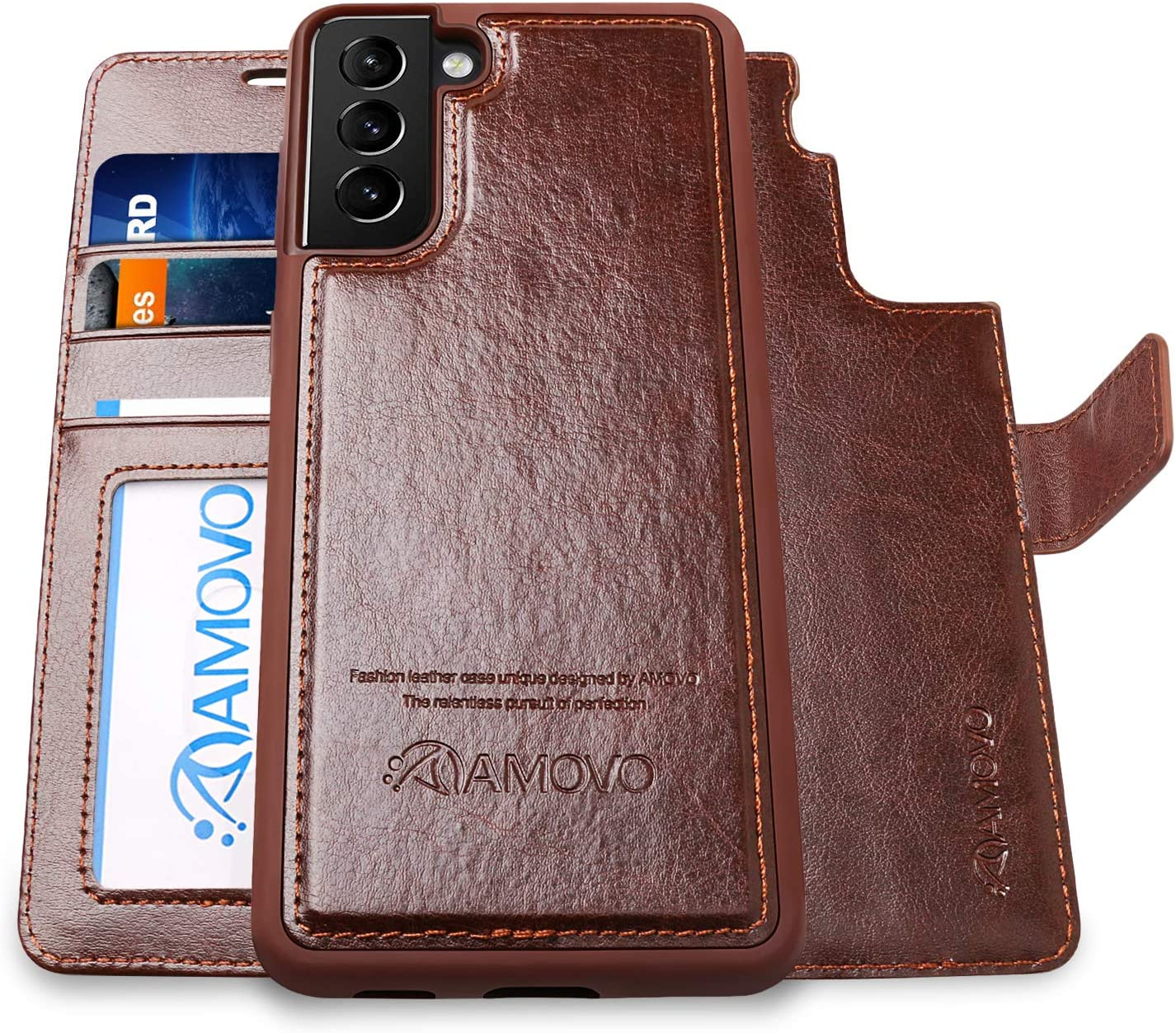 AMOVO Wallet Case for Samsung Galaxy S21 Plus [2 in 1Detachable] Leather Flip Case [Vegan Leather][Card Slot][Magnetic Clasp] Protective Case Cover for Galaxy S21+ (6.7'') (Brown)