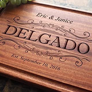 Classic Swirl Personalized Engraved Cutting Board - Wedding, Engagement, Anniversary, Housewarming, Birthday, Corporate Gift, Award #002