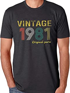 40th Birthday Gifts Shirts Vintage 1981 Original Parts T Shirts for Men Retro 40th Birthday Graphic Casual Tee Tops