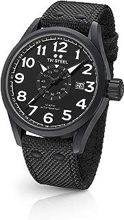 TW Steel Men's Volante Stainless Steel Quartz Watch with Nylon Strap, Black, 22 (Model: VS41)
