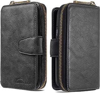 جراب محفظة لهاتف Samsung Galaxy A10، جراب محفظة قلاب بسحاب من الجلد الفاخر مع 10 فتحات للبطاقات، أسود