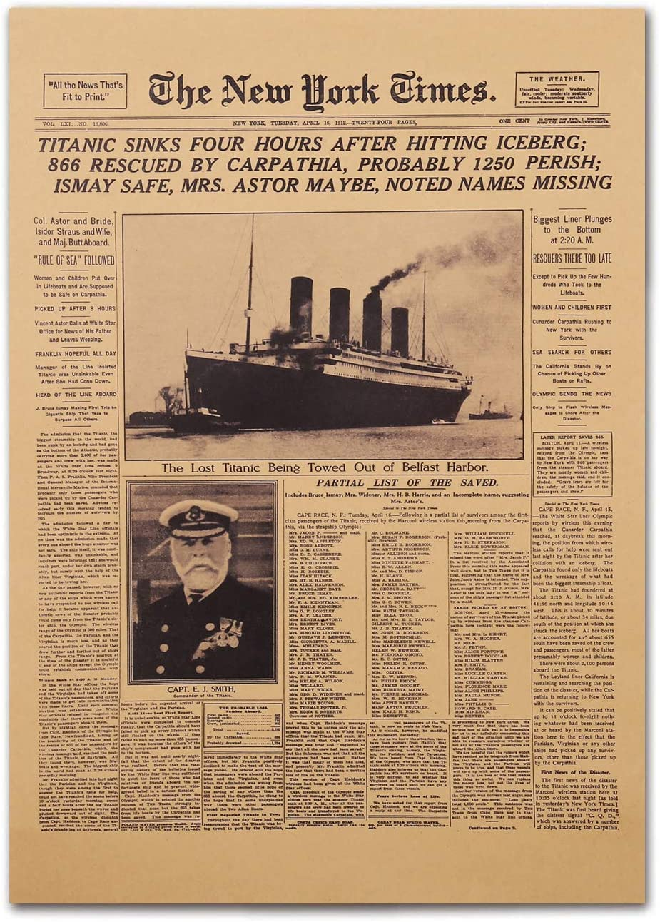 Vintage Newspaper Posters Front Sheet Page Titanic Disaster 1912 New York Times 20 x 14 Inch Unframed Kraft Paper Retro Poster Western Art Prints Home Decor Posters Under 10 Dollars