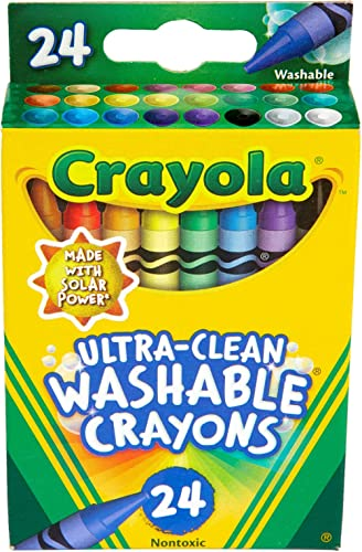 CRAYOLA 52-6924 Crayon Ultra Clean Washable, 24 Bright Colours, Art and Craft, Creativity, School, Non Toxic