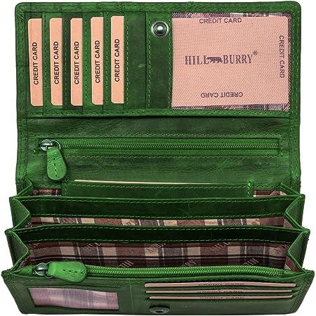 Hill Burry Cartera de Cuero para Mujer | Billetera - Monedero de Cuero Genuino con Aspecto Vintage | Mujeres - Hombre | XXL Largo Grande Capacidad (Verde)