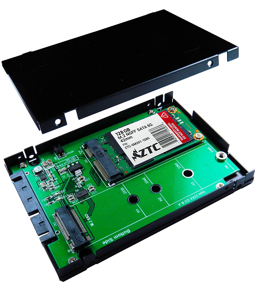 """ZTC 2-in-1 Sky 2.5"""" Enclosure M.2 (NGFF) or mSATA SSD to SATA III Board Adapter. Multi Size Fit with High Speed 6.0GB/s. Model ZTC-EN005"""