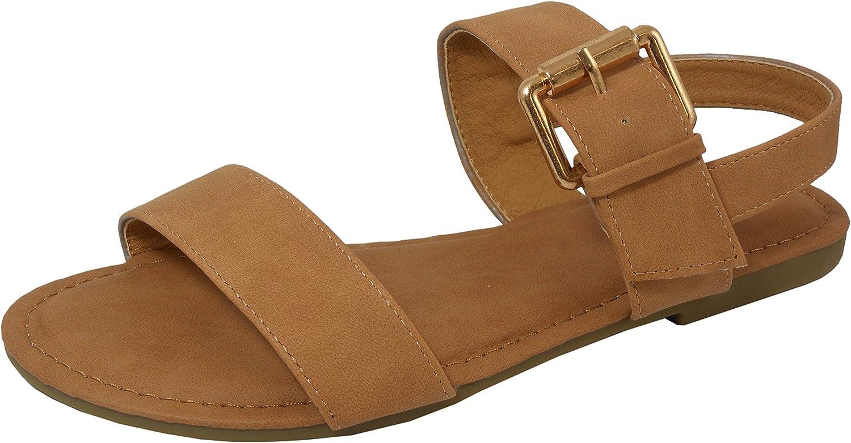 Cambridge Select Women's Open Toe 2 Strap Big Buckle Slingback Flat Sandal