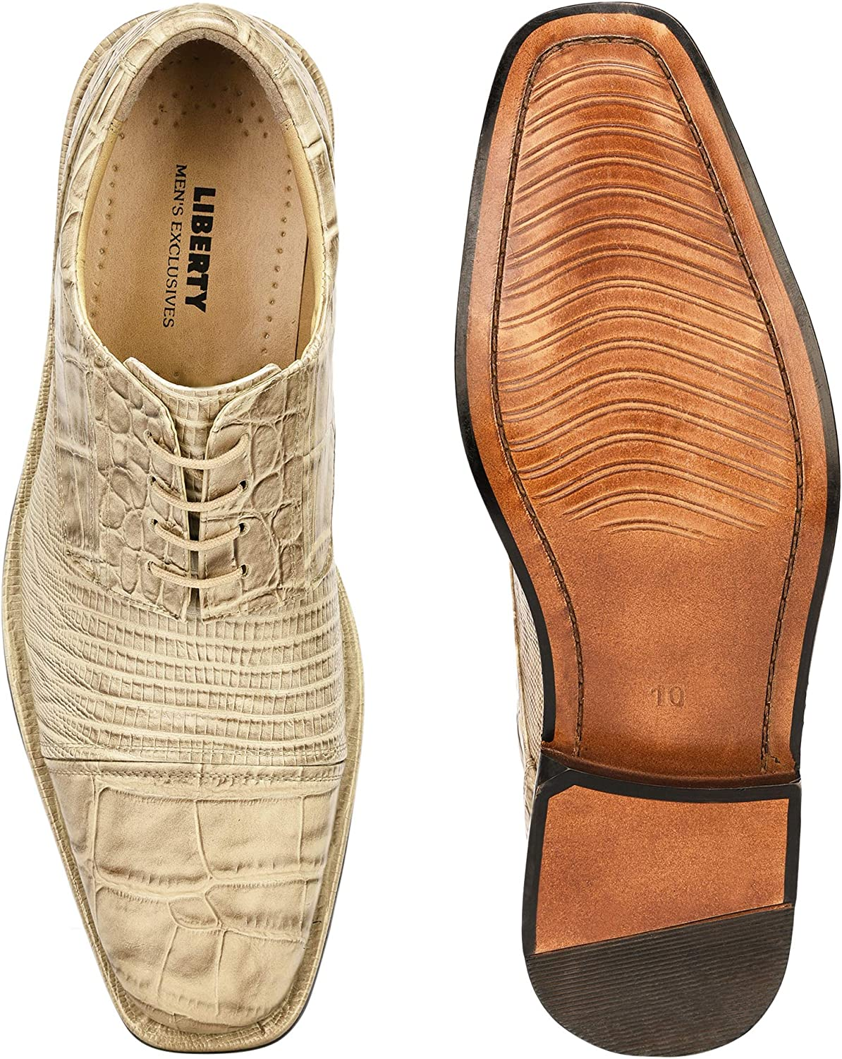 LIBERTYZENO Exotic Men's Crocodile/Lizard Print Oxford Hand-Picked Manmade Leather Lace up Dress Shoes Exclusive Collection