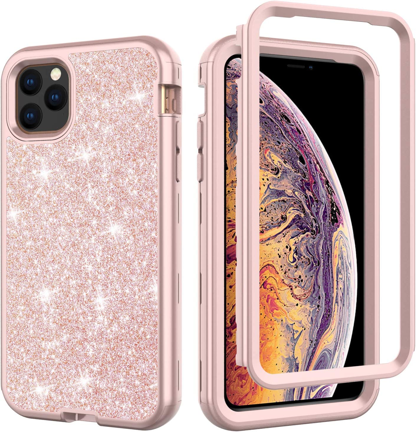 YMHML iPhone 11 Pro Case iPhone XI Pro Cover Bling Glitter Full-Body Protection Hybrid Protective Hard Shell Silicone Rubber with Front Frame for iPhone 11 Pro iPhone XI Pro (Rose Gold)