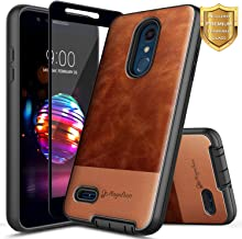 LG K30 Case, LG Premier Pro/Xpression Plus/Phoenix Plus /K10 2018 /Harmony 2 w/[Full Cover Tempered Glass Screen Protector], NageBee Premium [Cowhide Leather] Shockproof Hybrid Rugged Case -Brown