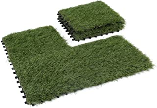 GOLDEN MOON Artificial Grass Turf Tile Interlocking Self-draining Mat, 1x1 ft, 1.5 in Pile Height, 6 Pack