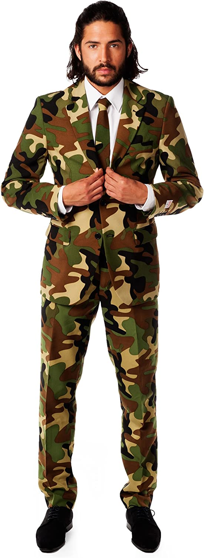 Opposuits Abschlussball kostüme für Herren - Mit Jackett, Hose und Krawatte mit Festlichen Print,Commando,56