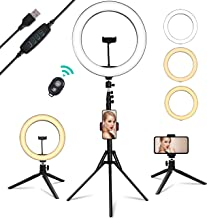 USB Powered Ring Light, Summifit 10� Circle LED Light, Bluetooth Halo Lighting with 2 Tripod Stand, 3 Phone Holder for YouTube Video, TikTok, Live Streaming, Makeup, Selfie Photography iPhone Android