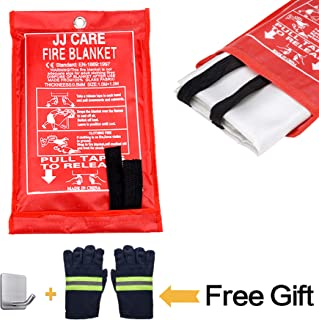 """JJ CARE [All in ONE] Fire Blanket Fire Suppression Blanket with Fire Protective Gloves -Suitable for Camping, Grilling, Kitchen Safety, Car and Fireplace Retardant Blanket for Emergency 40""""x40"""""""