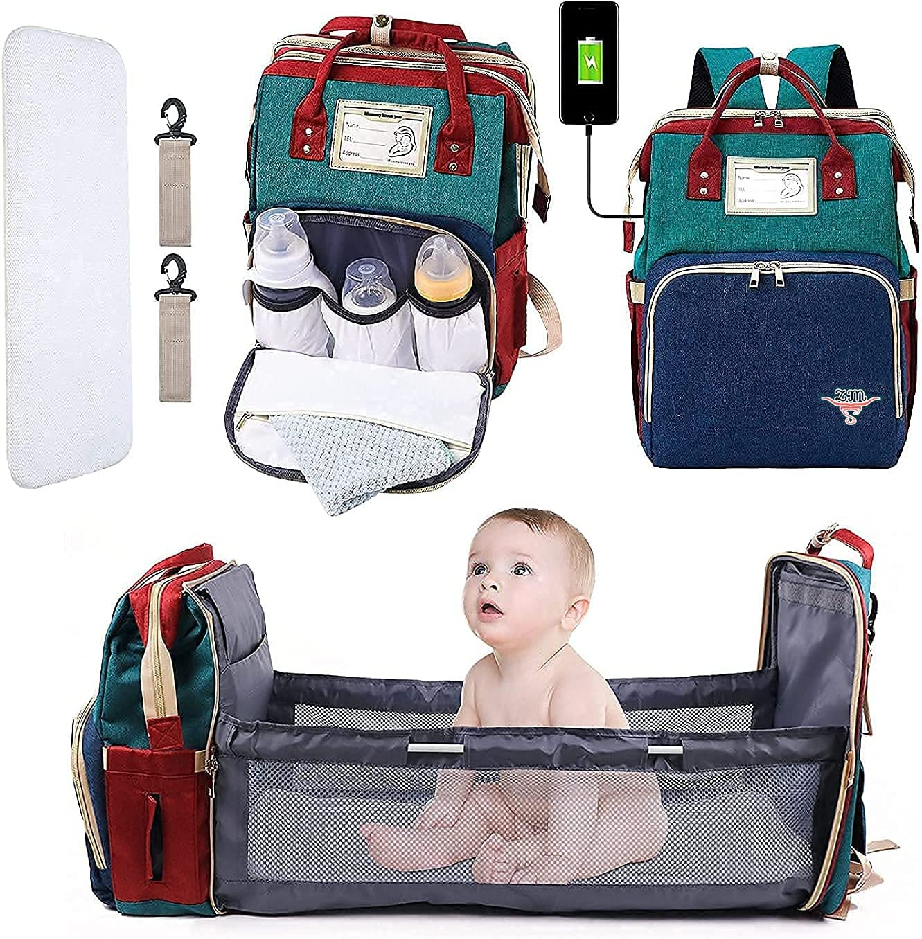 ZM Portable Baby Diaper Bag with Changing Station Waterproof USB Charging Port Large Capacity Cradle Travel Bassinet Foldable Backpack Organizer Bed Crib Multifunction Diaper Bag Stroller Straps (Green)