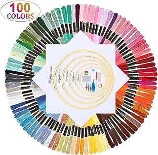 Oladwolf Stickgarn Set Stickerei Kreuzstich 100 Farbfäden, Garn Freundschaftsbänder Stickgarn Baumwollgarn Embroidery Threads Nähgarne Stickerei Basteln