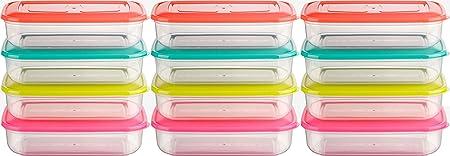 Kigima Mini-Contenitore congelatore Scatola di freschezza 250 ml Rettangolare Set di 12 colorato