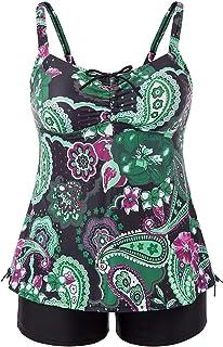 Hanna Nikole Women Plus Size Paisley Print Two Piece Swimsuit Bathing Suit Set