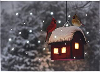 Oak Street Lighted Tabletop Canvas w/Timer - Cardinals on Birdhouse