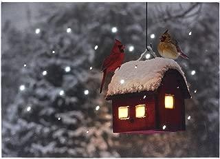 Oak Street Lighted Tabletop Canvas w/Timer - Cardinals on Birdhouse