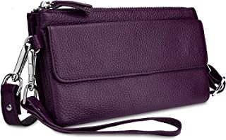 Women's Leather Clutch Smartphone Wristlet Crossbody with RFID Blocking Card Slots