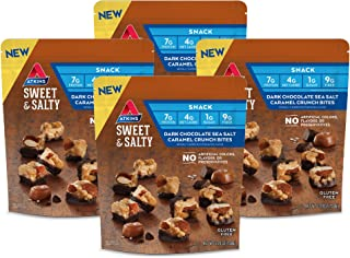 Atkins Sweet & Salty Dark Chocolate Sea Salt Caramel Crunch Bites (Pack of 4)