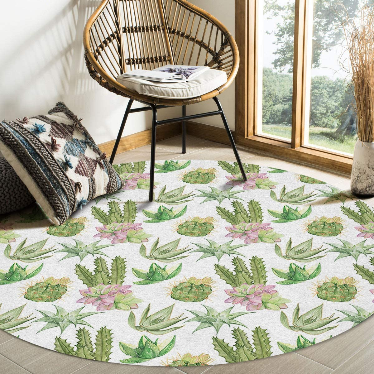 OneHoney Summer Watercolor Succulent Cactus Area 36In New York Mall Round Selling Rugs