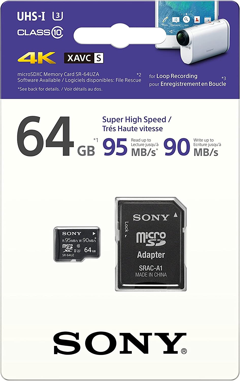 Sony High Speed Micro SD Memory Card, 64GB (SR-64UZA/T)