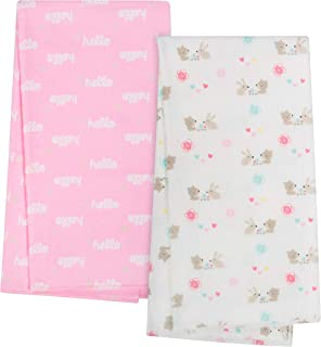 GERBER Organic 4-Pack Flannel Blanket, Pink Hello, One Size