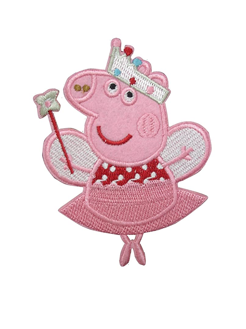 2 pieces CUTE PIG Iron On Patch Applique Motif Piglet Children Cartoon Decal 4 x 3 inches (10 x 7.5 cm)