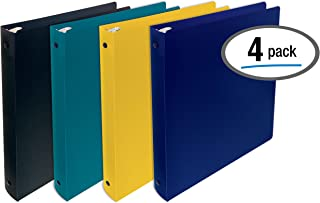 Better Office Products, 3 Ring Poly Binder with Pocket, 1 Inch, Letter Size, 4 Pack-Assorted Colors