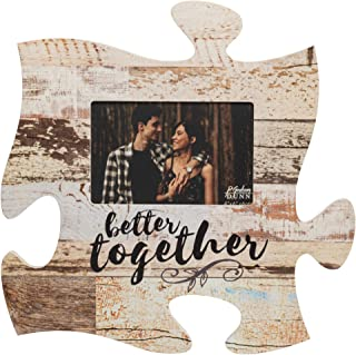 P. Graham Dunn Better Together Distressed Wood Look 4 x 6 Wood Puzzle Wall Plaque Photo Frame