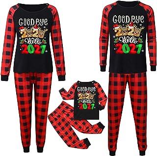 Conjunto de pijamas navideños familiares Christmas GoodBye 2020 Hello-2021 Conjunto de pijamas estampados para adultos, niños, bebés, ropa de dormir, pijama, papá, mamá, niño, niña, bebé, ropa