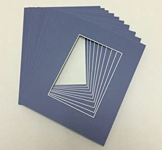 Pack of 10 8x10 Navy Blue Picture Mats with White Core Bevel Cut for 5x7 Pictures