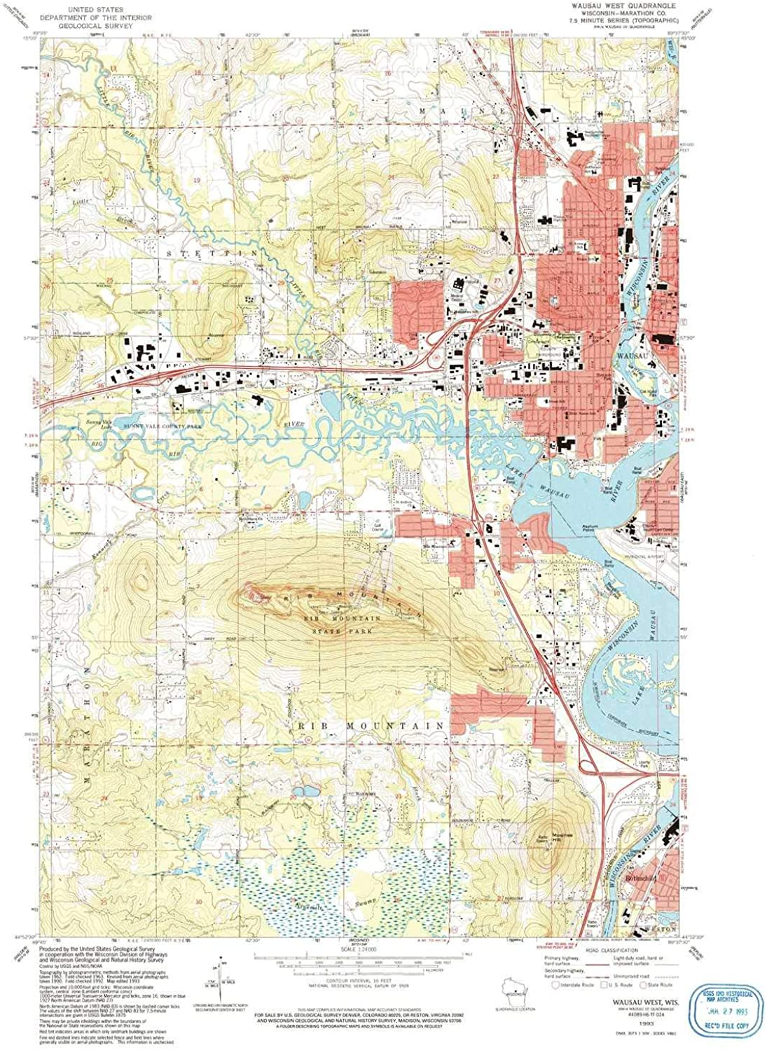 Wausau West WI topo map, 1 24000 Scale, 7.5 X 7.5 Minute, Historical, 1993, Updated 1993, 27.35 x 22.58 in