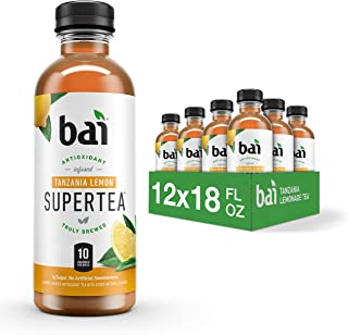 Bai Iced Tea, Tanzania Lemon, Antioxidant Infused Supertea, Crafted with Real Tea (Black Tea, White Tea), 18 Fluid Ounce B...