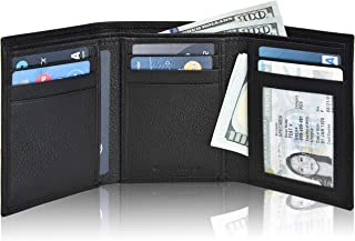 Real Leather Wallets for Men - RFID Blocking Slim Trifold Wallet with Card Slots