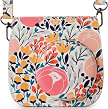 Woodmin Compatible PU Leather Camera Case for Fujifilm Instax Mini 9 8 8+ Camera with Shoulder Strap(Elegant Flower)