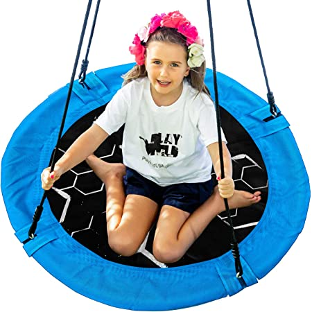 """Kids Indoor Outdoor Round Mat with Adjustable Hanging Tree Straps /& Stainless Carabiners Cavinal 40/"""" Flying Saucer Tree Swing Set Easy to Install Multicolored Playground 660lb Weight Capacity"""