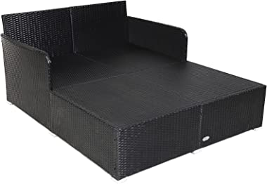 Happygrill Outdoor Rattan Daybed Patio Loveseat Sofa Set with Padded Cushion Pillows and Sturdy Aluminum Foot, Wicker Patio F