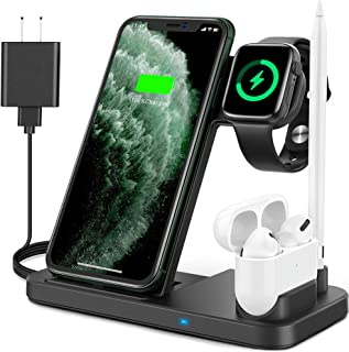 Updated Version 4 in 1 Wireless Charger, Apple Watch & AirPods & Pencil Charging Dock Station, Nightstand Mode for iWatch ...