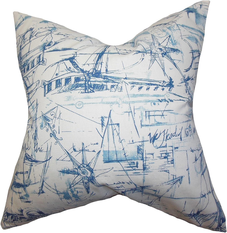 The Pillow Collection Hobson Coastal Bedding Sham bluee, European 26 x 26