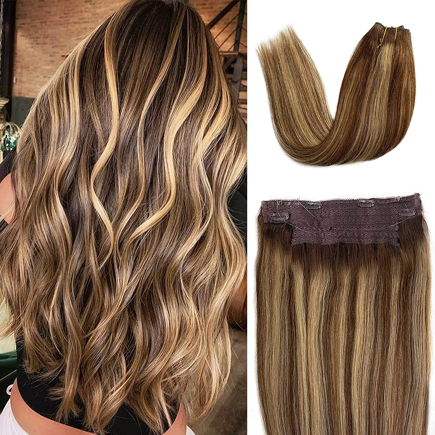 Human Hair Halo Extensions Award Be super welcome Chocolate Brown Ombre to