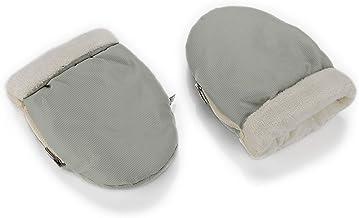 Manoplas para carro de bebé color gris con interior beige | Guantes de protección contra el frío y lluvia de carro de bebé | Manoplas impermeables de invierno para pasear con el bebé