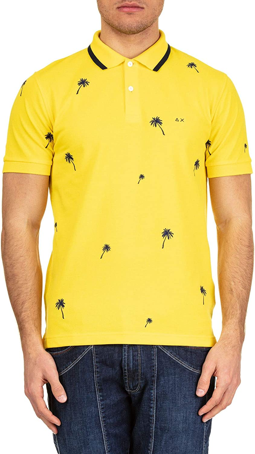 SUN 68 Men's A1912223 Yellow Cotton Polo Shirt