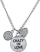 Lux Accessories Silver Tone Crazy in Love Engraved Personalized Pendant Necklace