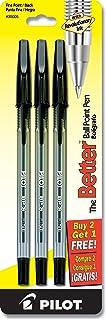 PILOT The Better Ball Point Pen Refillable Ballpoint Stick Pens, Fine Point, Black Ink, 2-Pack + 1 Bonus (35005)
