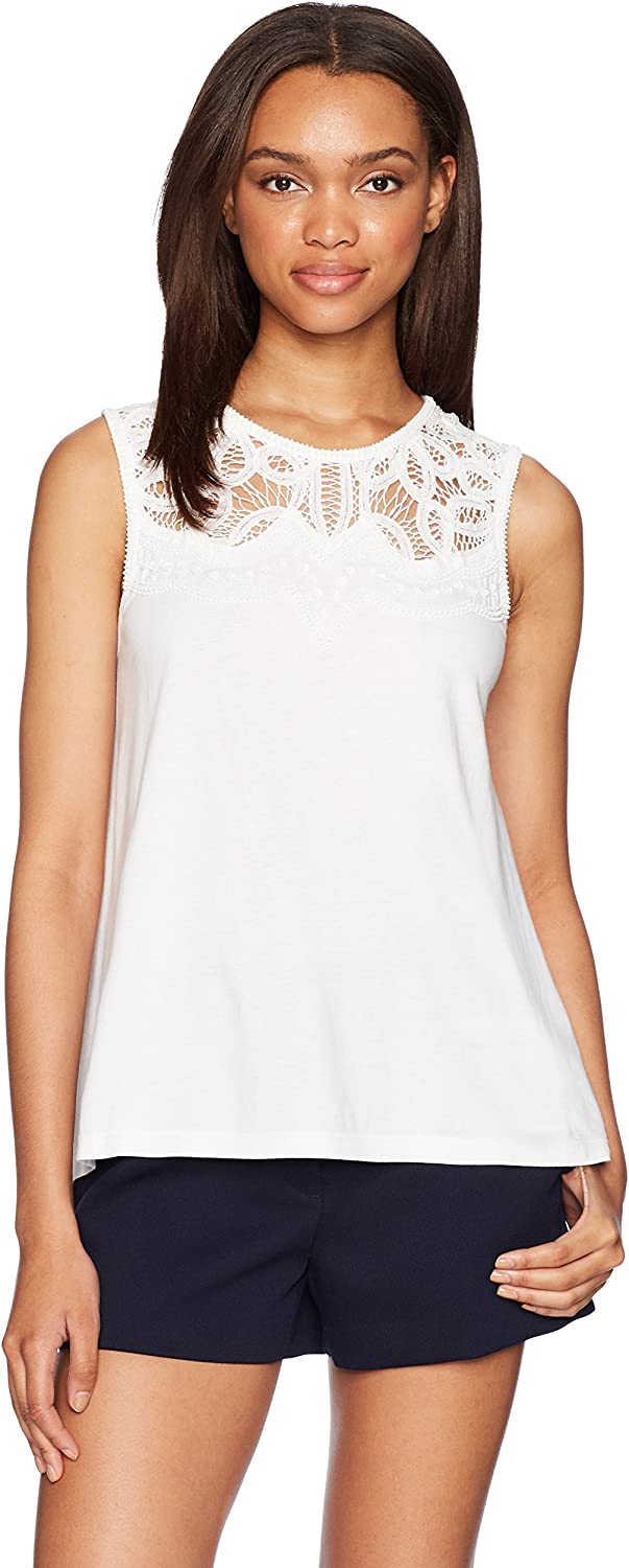 French Connection Womens Ekon Embellished Lace Jersey Top Dress